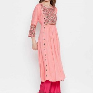 Women Pink Printed Rayon A-Line Kurta With Gathered Waist