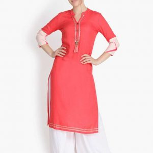 Women Rayon Solid Straight Kurta (Pink)