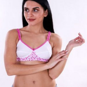 Bestcare Full Coverage Seamless Printed Bra (White Pink Color)